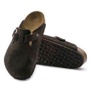 Brown suede birkenstock clogs
